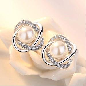 Upscale 925 Sterling Silver Earrings Zircon Pearl Twist Luxury Stud Earrings For Women brincos pendientes bijoux