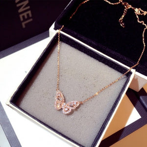 Cute Rose Gold Silver Color Butterfly Pendant Long Chain Necklace Choker for Women Fashion Jewelry 2020 NEw