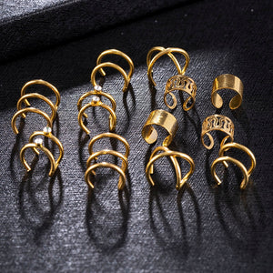 2020 New Fashion 6Pcs/Set Ear Cuffs 4 Color Leaf Ear Cuff Clip Earrings for Women Earcuff No Piercing Fake Cartilage Earrings
