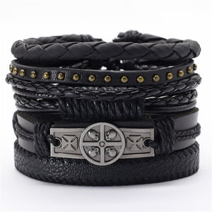 Black Taichi  Feather Men Bracelets 5pcs/set Wristband Fashion Rope Wrap Cuff Bangle Leather Bracelets Women Jewelry Accessories