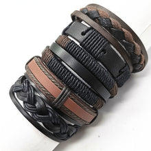 Load image into Gallery viewer, Black Taichi  Feather Men Bracelets 5pcs/set Wristband Fashion Rope Wrap Cuff Bangle Leather Bracelets Women Jewelry Accessories