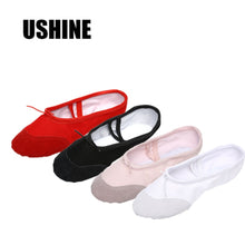 Load image into Gallery viewer, USHINE Yoga Gym flat slippers White Pink White Black Canvas Ballet Dance Shoes For Girls Children Women Teacher