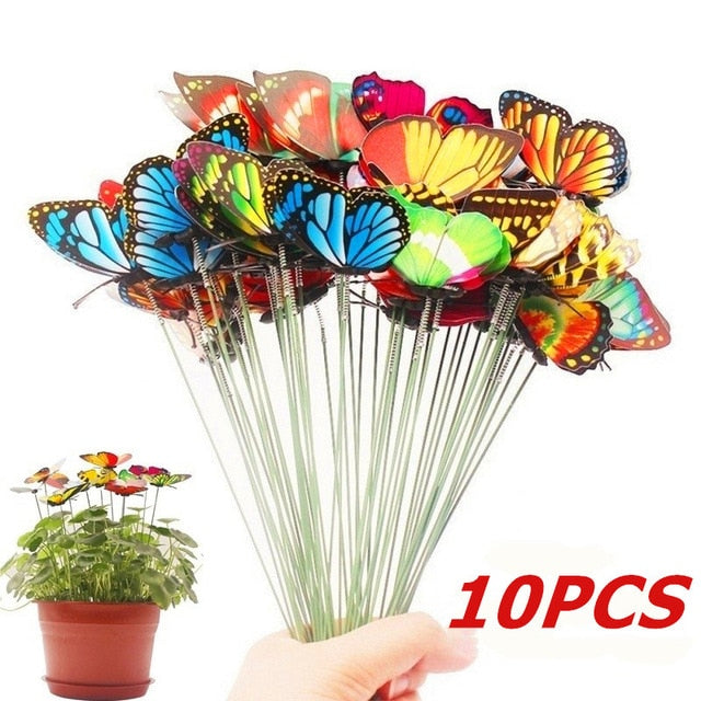 Bunch of Butterflies Garden Yard Planter Colorful Whimsical Butterfly Stakes Decoracion Outdoor Decor Flower Pots Decoration