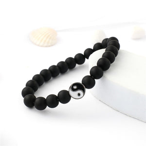 Distance Bracelet Classic Natural Stone White and Black Yin Yang Beaded Bracelets for Men Women Best Friend Drop Shipping