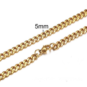 CUBAN LINK 3 TO 7 MM  STAINLESS STEEL NECKLACE FOR MEN CHOKER JEWELRY