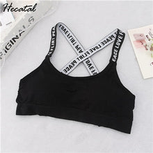 Load image into Gallery viewer, Women Sport Bra Fitness Top Letters Yoga Bra For Cup A-D Black White Running Yoga Gym Fitness Crop Top Women Push Up Sports Bras