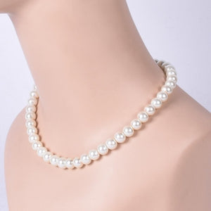 HOWAWAY Round Imitation Pearl Necklace Wedding Pearl Necklace for Brides White Choke necklace for handmade pearl