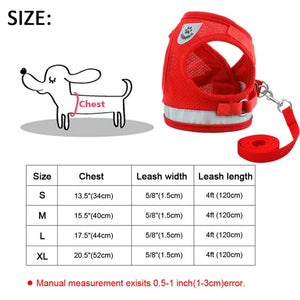Breathable Small Dog Harness Nylon Pet Puppy Harness and Leash Soft Dog Cat Hanresses Chihuahua Yorkshire Vest Walking Lead