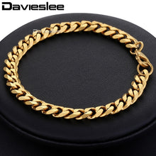 Load image into Gallery viewer, Bracelet for Men Women Curb Cuban Link Chain Stainless Steel Mens Womens Bracelets Chains Davieslee Jewelry for Men DLKBM05