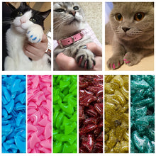 Load image into Gallery viewer, New FASHION colorful Cat  Nail Caps soft cat  Claw  Soft Paws 20 PCS/lot with free Adhesive Glue Size XS S M LGift for pet