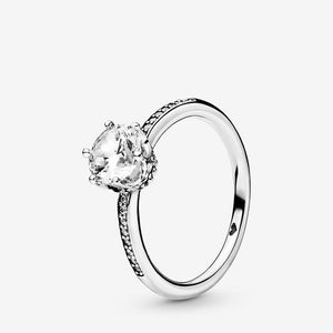 Authentic 925 Sterling Silver Princess Tiara Crown Sparkling Love Heart ,CZ Rings for Women Engagement Jewelry Anniversary