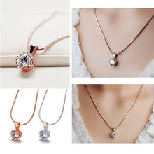 Load image into Gallery viewer, Top Quality Fashion Crown Pendant Necklace for Women Retro Vintage Classic Rose Gold Color Cubic Zircon Stone Jewelry N390