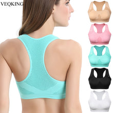 Load image into Gallery viewer, VEQKING Women Breathable Sports Bra,Absorb Sweat Shockproof Padded Sports Bra Top Athletic Gym Running Fitness Yoga Sports Tops