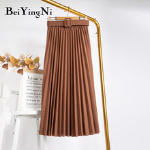 Load image into Gallery viewer, Beiyingni High Waist Women Skirt Casual Vintage Solid Belted Pleated Midi Skirts Lady 11 Colors Fashion Simple Saia Mujer Faldas