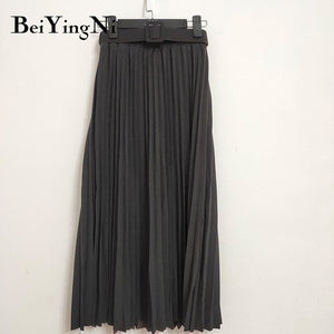 Beiyingni High Waist Women Skirt Casual Vintage Solid Belted Pleated Midi Skirts Lady 11 Colors Fashion Simple Saia Mujer Faldas