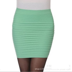 Cheapest Free Shipping New Fashion 2020 Summer Women Skirt High Waist Candy Color Plus Size Elastic Pleated Sexy Short Skirt