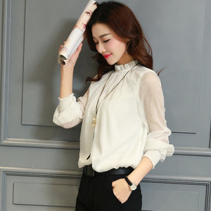 Chiffon Blouse New Women Tops Long Sleeve Stand Neck Work Wear Shirts Elegant Lady Casual Blouses women's blusas Plus size