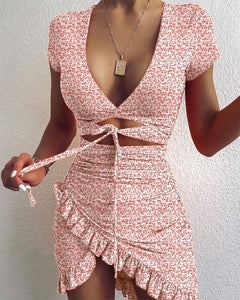 Cryptographic Floral Print Fashion Tie Up Wrap Mini Dress 2020 Summer Holiday Ruffles Sundress Ruched Women's Dress Short Sleeve