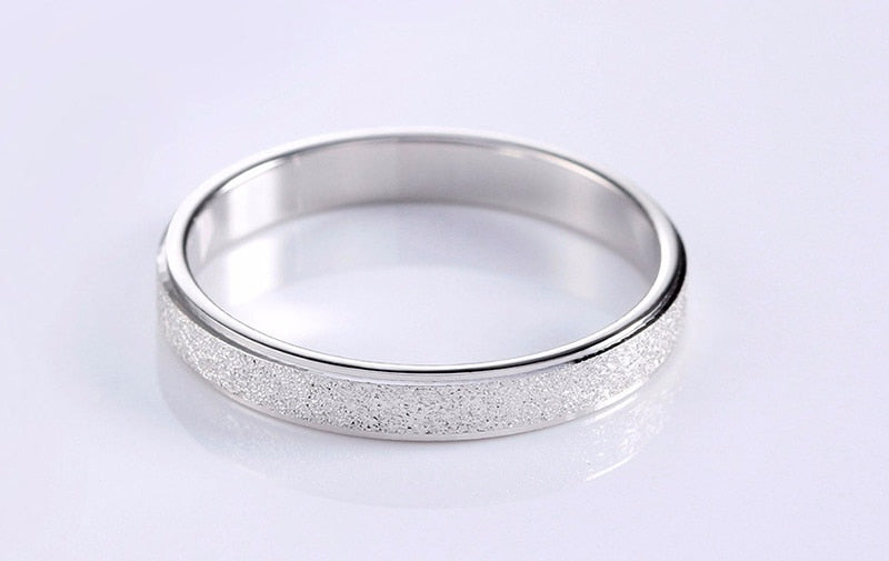With Certificate Silver 925 Frosted Finger Rings for Woman Men Wedding Bands Silver 925 Jewelry Top Quality Never Fade MSR07
