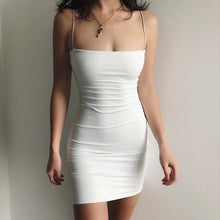 Load image into Gallery viewer, White Sexy Dress Women Spaghetti Strap Dresses Female High Waist Sheath Club Dress Short Summer 2020 Mini Sleeveless Vestidos