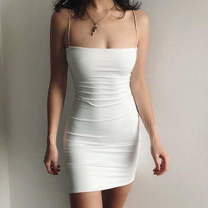 White Sexy Dress Women Spaghetti Strap Dresses Female High Waist Sheath Club Dress Short Summer 2020 Mini Sleeveless Vestidos