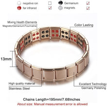 Load image into Gallery viewer, New Women Wristband Stainless Steel Elastic Adjustable  Rose Gold Color Germanium Magnetic Bracelet for Men Health Jewelry