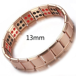 New Women Wristband Stainless Steel Elastic Adjustable  Rose Gold Color Germanium Magnetic Bracelet for Men Health Jewelry