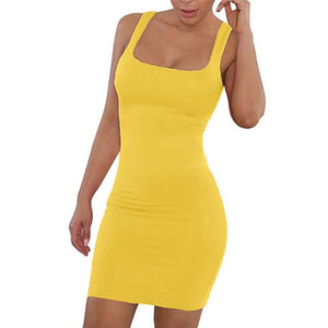 ONCE Solid Summer Dress Sexy Square Neck Casual Close Fitting Off Shoulder Short Bodycon Stretchy 2020 Dress Women