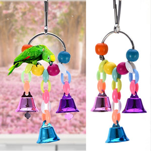 Colorful Beads Bells Parrots Toys Bird Accessories For Pet Toy Swing Stand Budgie Parakeet Cage Pet Bird Parrot Chew Swing Toys