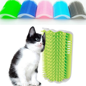 1 Pcs Cat Corner Brush For Long Hair Squeaky Face Massage Comb Comfortable Self Grooming Brush Free Hand Wall Toy For Cats