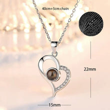 Load image into Gallery viewer, 100 Languages Love Necklace Heart Pendant Wedding Romantic I Love You Projection Necklace for Women Girl Friend Ladies Gifts