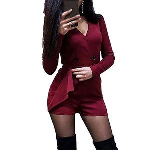 Chic Women Playsuits Solid Color Long Sleeve V Neck Double-breasted Short Playsuit Jumpsuit Women's Playsuits