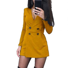 Load image into Gallery viewer, Chic Women Playsuits Solid Color Long Sleeve V Neck Double-breasted Short Playsuit Jumpsuit Women's Playsuits