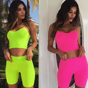 2020 Women's Yoga Set Women Sports Set Crop Tops + Yoga Legging Capri Pant Women Tracksuit Fitness Gym Running Clothes 2pcs