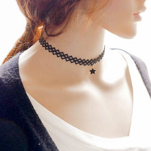 Load image into Gallery viewer, Hollow Designs Black Leather Velvet Choker Necklace Layer Chockers Vintage Gothic Jewelry Goth Necklace for Women Collier Femme