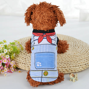 Cartoon Puppy Dog Vest Shirt Summer Pet Clothes for Small Dogs Chihuahua Yorkshire Maltese Shirts Dogs Pets Clothing Cat Outfit