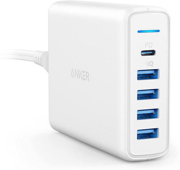 Anker USB C Wall Charger, Premium 60W 5-Port Desktop Charger with One 30W Power Delivery Port for MacBook Air 2018, iPad Pro 2018, and 4 PowerIQ Ports for iPhone 11/XS/Max/XR/X, Galaxy S9/S8 and More