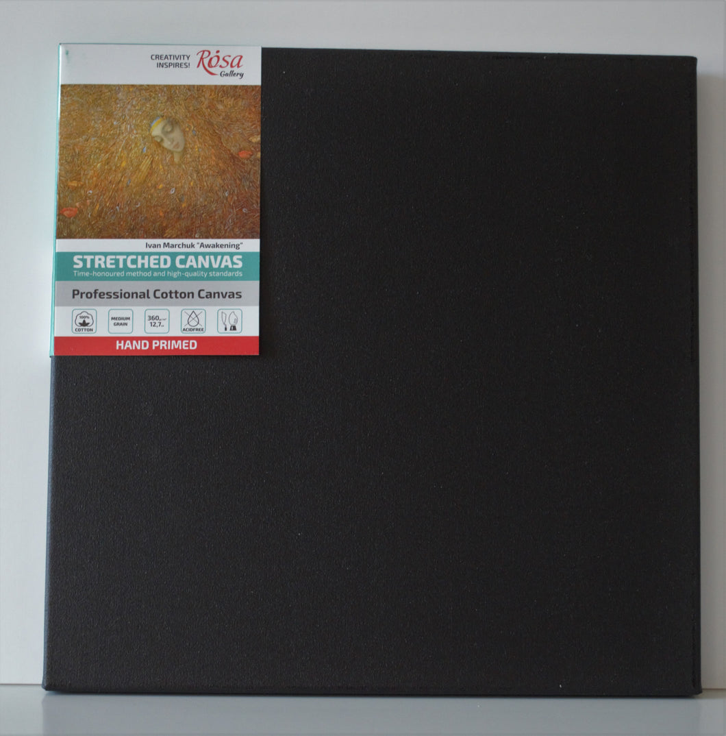 Black Stretched Cotton Canvas, Triple Primed Gesso, ARTIST, Best Quality