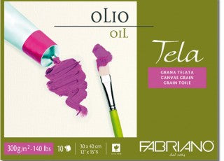 Fabriano Tela, Oil Paper Pad,10 Sheets - 300 gsm, Acid Free, Canvas Grain