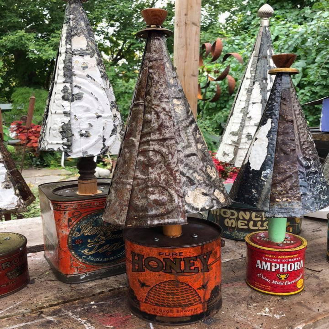 Antique Tin Can Christmas Trees