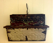 Load image into Gallery viewer, Antique  embossed tin boxes with lightening rod wire handles