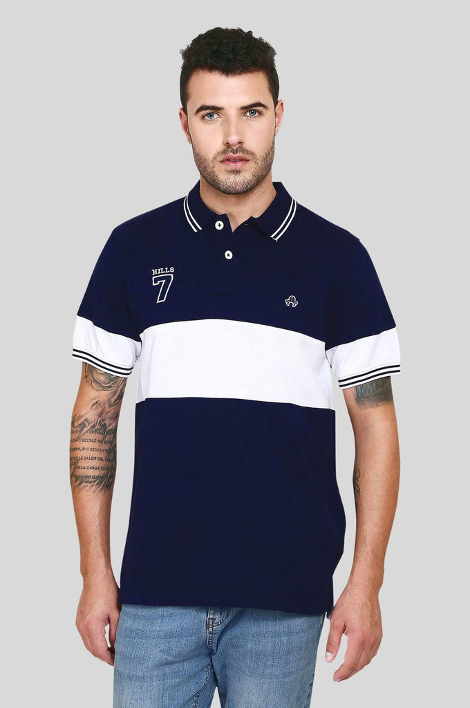 Blue and White Polo T-shirt for Men (EGRES BLUE) - GOOSEBERY