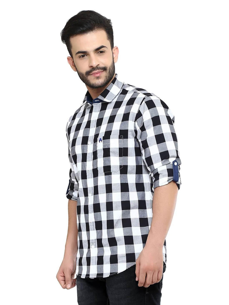 Black Bold Checks Shirt for Men (HAINE 118) - GOOSEBERY