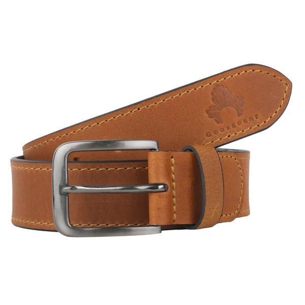 Casual Brown Genuine Leather Belt - GOOSEBERY
