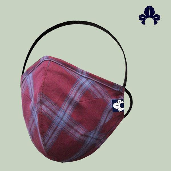 Maroon Check Face Mask - GOOSEBERY