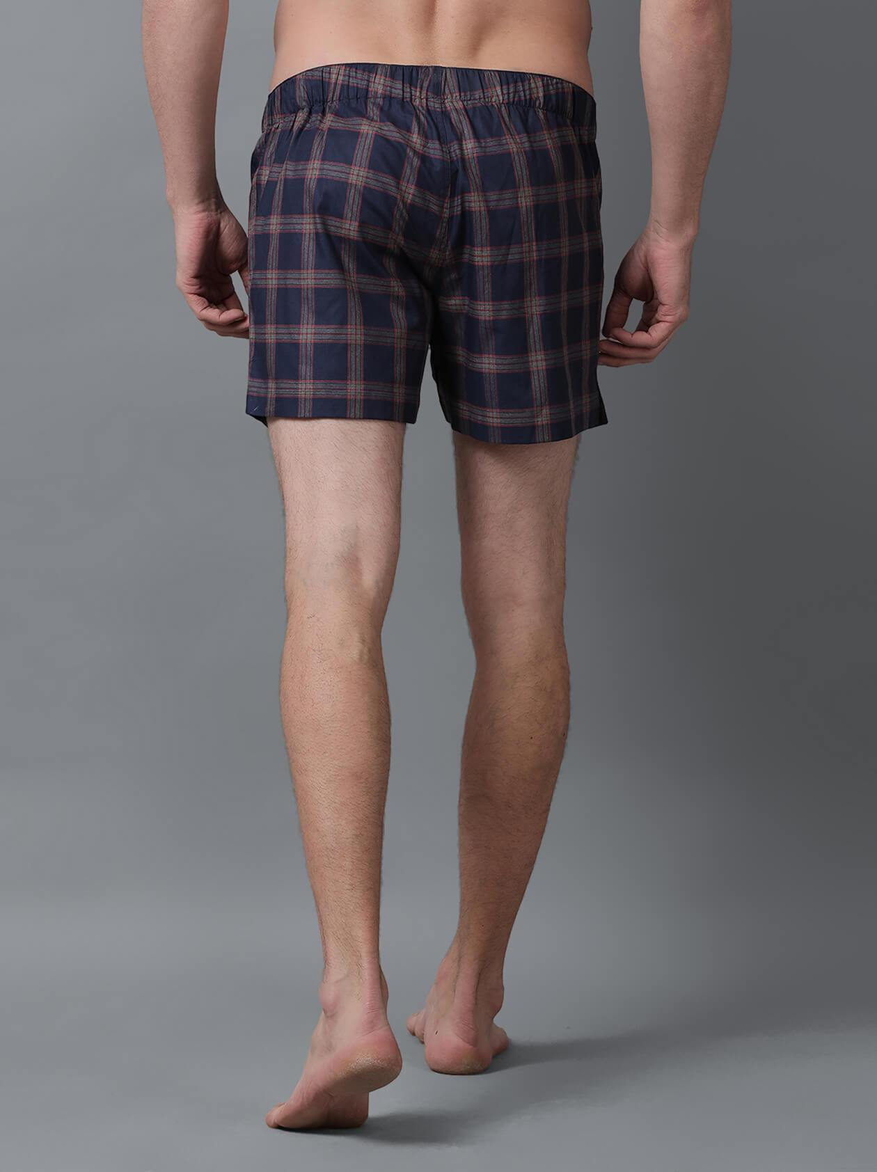 Navy Blue Check Boxer for Men (BX1001) - GOOSEBERY