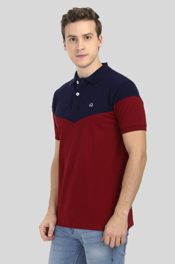 Red and Blue Polo T-Shirt for Men - GOOSEBERY