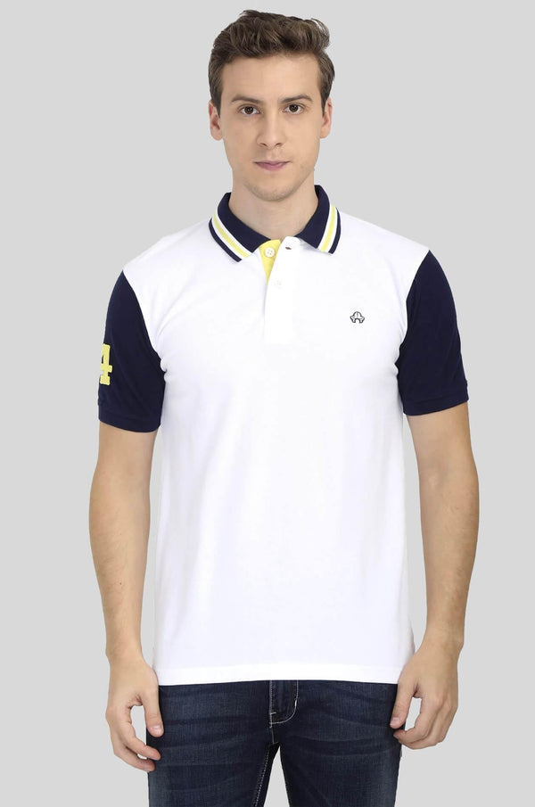 White and Blue Polo T-Shirt for Men - GOOSEBERY