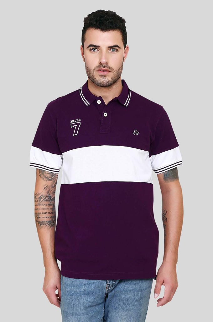 Purple and White Polo T-Shirt for Men (EGRES PURPLE) - GOOSEBERY