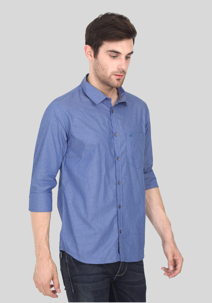 Blue Checks Shirt for Men (GBFRML1012) - GOOSEBERY